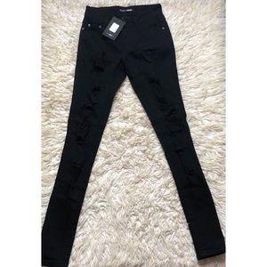 Black Distressed Fashion Nova Jeans